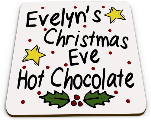 Personalised Christmas Eve Hot Chocolate Novelty Glossy Mug Coaster